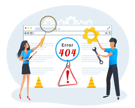 Vector concept of 404 error page. Broken web page. Developers repair the website. 404 error warning, creative template design in flat style.