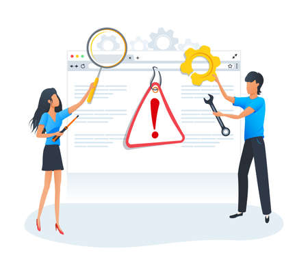 Vector flat syle concept, website is under construction caution sign. Broken web page. Datacenter, server, operating system error. 404 error warning page. Application testing and debugging.
