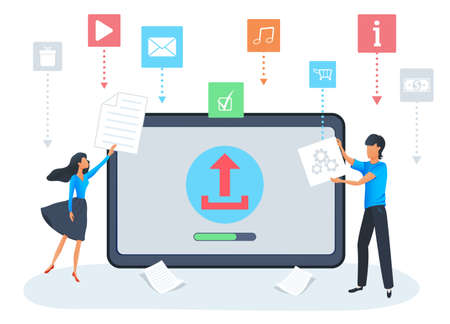 Vector concept of uploading file process on desktop screen with progress bar. Flat design elements for torrent, data exchange, file transfer and sharing. Social media life