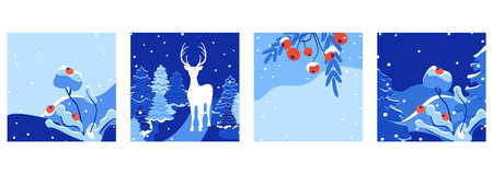 Vector square Merry Christmas and Happy New Year greeting card set. Trendy Holiday winter landscape templates for social media posts. Christmas cards design for banners, wallpapers, mobile apps, ads. Ilustracja