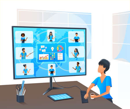 Vector, senior business woman in video call with diverse multiracial colleagues on online meeting. Business team in video conference. Virtual classroom. Workshop training. Working remotely from home