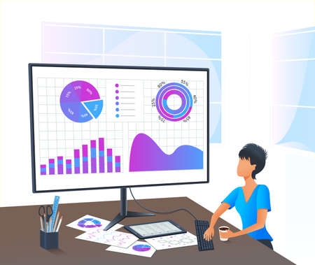 Vector, accountant analyzing financial report. Accounting. Business analyst auditing finance data on computer screen. Financial consultant. Business woman working remotely from home. Planning budget Ilustracja