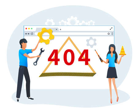 Vector concept of 404 error web page, website is under construction, operating system error. Developers fixing the site problem. Flat template design for banners, posters, landing page, ui, mobile app