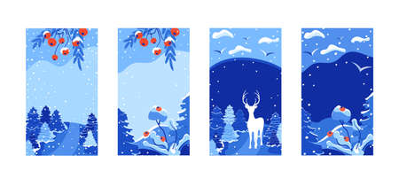 Vertical Merry Christmas greeting card set. Trendy Winter Holidays templates for social media posts. Christmas cards design for banners, posters, mobile apps. Vector landscape background in flat style Ilustracja