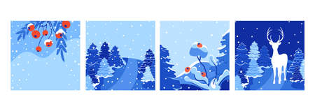 Vector square winter holidays greeting cards set. Holiday winter landscape. Merry Christmas greeting card design with falling snow, New Year tree and deer. Suitable for social media post, mobile apps