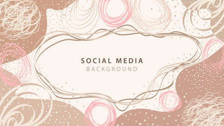 Vector creative abstract background with hand drawn shapes and doodle objects. Banner template design for social media posts. Trendy background in simple flat style with copy space for text Ilustracja