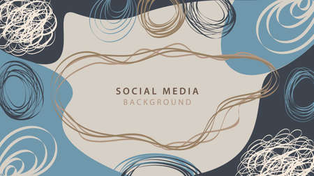 Vector creative abstract background with hand drawn shapes and doodle objects. Banner template design for social media posts. Contemporary trendy background for Christmas and New Year in modern style Ilustracja