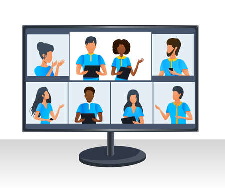 Vector concept of group corporate video conference. Multi ethnic business team working at online meeting by video call. Virtual classroom. Working remotely from home during coronavirus pandemic