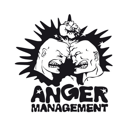spiteful: Vector picture of two angry men for application to the t-shirt. Print template. Vector art. Vector illustrations. Spiteful man. Furious. Frenzied. Anger management vector emblems. Illustration