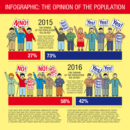 public opinion: Collection of elements for illustrations and infographics. People protest, demonstration, rally, either for or against, riots. People with placards in the hands.