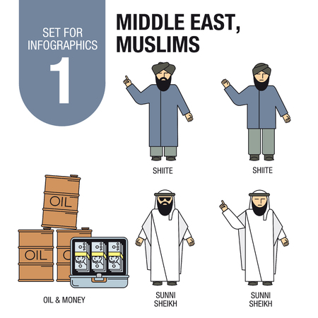 middle east fighting: Collection of elements for illustrations and infographics. Sunites and Shiites, Sheikh, oil, money.