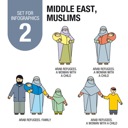 middle east fighting: Collection of elements for illustrations and infographics. Arab men, women and children. Refugees.