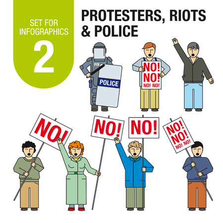 riots: Collection of elements for illustrations and infographics. Protesters, riots, police. Illustration