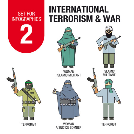 middle east fighting: Collection of elements for illustrations and infographic. Set for infographic 2: international terrorism and war. Islamic militants and terrorists, woman suicide bomber.