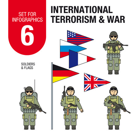 anti war: Collection of elements for illustrations and infographics. Soldiers and military equipment.