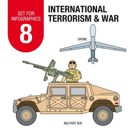 solder: Collection of elements for illustrations and infographics. Solder in the military Hummer, spy plane, machine gun on the car. Illustration