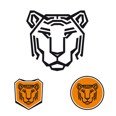 security company: Tiger logo for security company. Tiger head emblem.