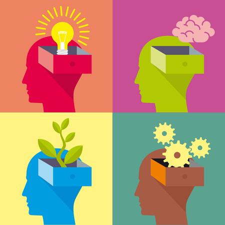 thinking: cabeza, idea, bombilla, cerebro, planta, engranaje, ecología, piense, pensamiento, cambiar los pensamientos. icono de vectores para la web o la infografía. Una cabeza humana en el perfil se abre como un cajón.
