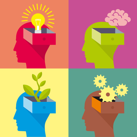 cabinet: head, idea, light bulb, brain, plant, gear, ecology, think, thinking, changing thoughts. Vector icon for web or infographics. A human head in profile is opened as a drawer.
