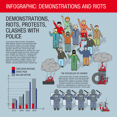 public opinion: Collection of elements for illustrations and infographics. People protest, demonstration, rally, riots, burning tire, police.