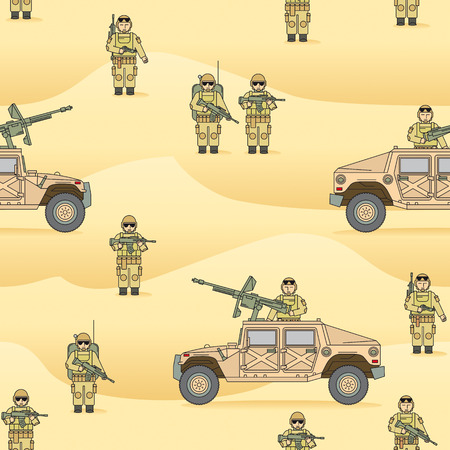 hummer: Endless vector pattern for print or web. The soldiers amid the desert Sands, a military Hummer with a machine gun. Illustration
