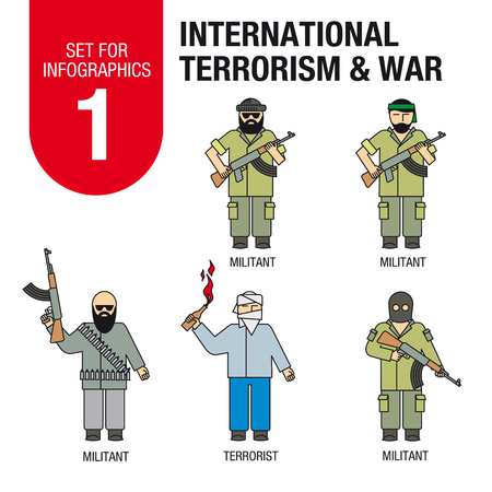 middle east fighting: Collection of elements for illustrations and infographics. Islamic militants and terrorists.