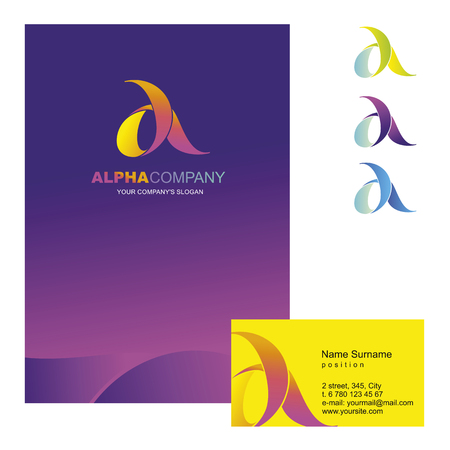 alpha: A letter - vector logo design concept illustration. Alpha abstract t letter logo sign for business company. Alpha letter logo corporate identity - visit card, poster, folder, brochure cover.