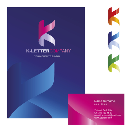 letter: K letter - vector logo design concept illustration. Abstract K letter logo sign for business company. V letter logo corporate identity - visit card, poster, folder, brochure cover. Mosaic decorative style.