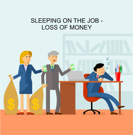 operative: Flat image: man sleeping on the job in the office. Customers come with bags of money and holding money in his hands. Illustration