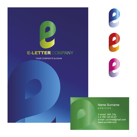 e card: letter - vector logo design concept illustration. E abstract letter sign for business company. E letter logo corporate identity - visit card, poster, folder, brochure cover.