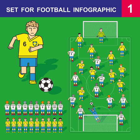 soccer world cup: Soccer concept vector illustration in flat line style design. Set for football infographic. Football team on a green field. Figures of football players in cartoon style. Soccer World Cup. Design elements. Illustration