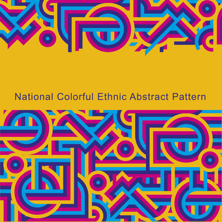 etno: National ethnic colorful abstract pattern of lines. Cover yellow