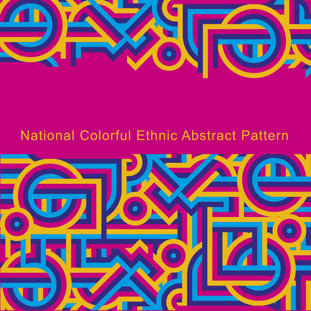 magenta decor: National ethnic colorful abstract pattern of lines. Cover Magenta pink Illustration
