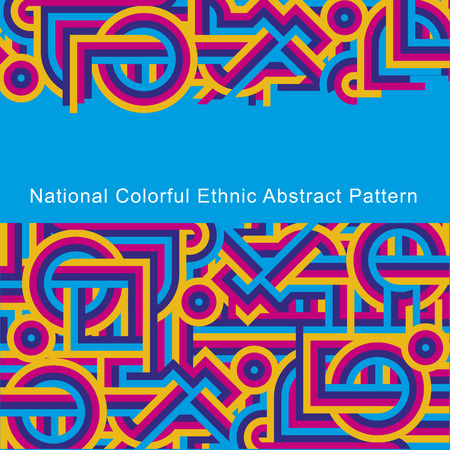 etno: National ethnic colorful abstract pattern of lines. Cover blue, cyan