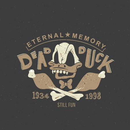 dead duck: Funny vintage drawing for a tattoo or print on t-shirt or clothing: cartoon skull Duck skeleton.
