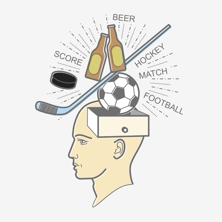 hockey goal: The mans head. Illustration in the style of linear design on a mans mind: football, sports, beer, hockey, puck, stick, goal. Illustration