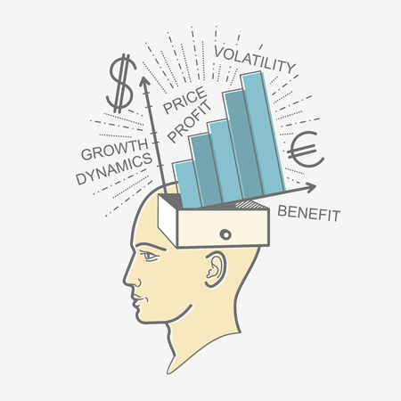 economist: The mans head. Illustration in the style of linear design on a mans mind: the economy, income, profit, dollar, Euro, currency, money, work, development.