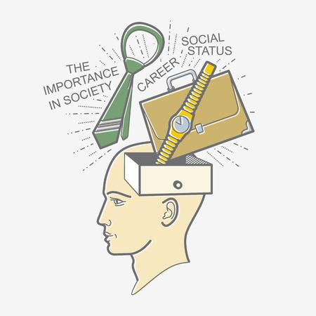 prestige: The mans head. Illustration in the style of linear design on a mans mind: career, high position, job, social recognition, prestige.