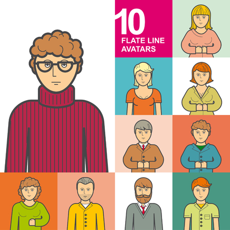bespectacled man: Set of 10 avatars style flat line design: man, woman, student, freelancer, nerd, CEO, chief, director general, manager, secretary, curly-haired, bearded, sweater, jacket, and tie. For web, print. Illustration