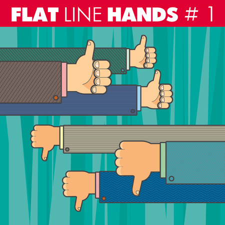 approval rate: hand style flat line design. Thumbs up, thumbs down, finger, like, not like. For web, print.