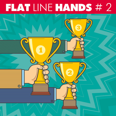 award winning: hand style flat line design. Hand of a businessman holding a Cup, competition, contest, victory, win, award, winning, triumph, victorious. For web, print.