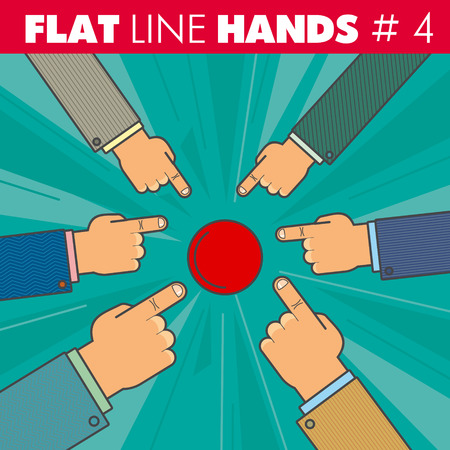 approval button: hand style flat line design. Hand of a businessman finger presses the red button, pointing the finger: start, run, stop, click. For web, print.