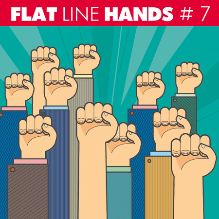 hand style flat line design. The fist illustrates the protest, resistance, strike, revolution. For web, print.