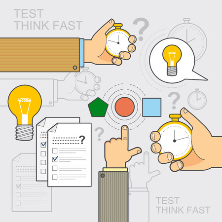 stopped: style of flat line design on the theme test, exam, examination, idea, quick thinking, hurry, to think, to choose the right solution, decision, quick response. For web, print. Illustration