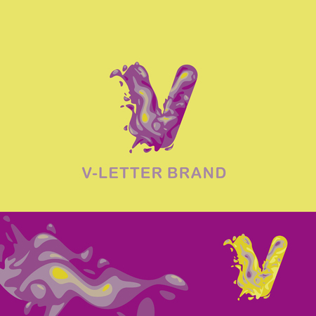 water liquid letter: Template trade brand V company. Corporate style for the letter V