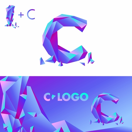 splinters: Template C brand name companies. Corporate Identity for the company with the letter C: logo, background. Creative logo, bulk ice DIAMOND GLASS letter C Illustration