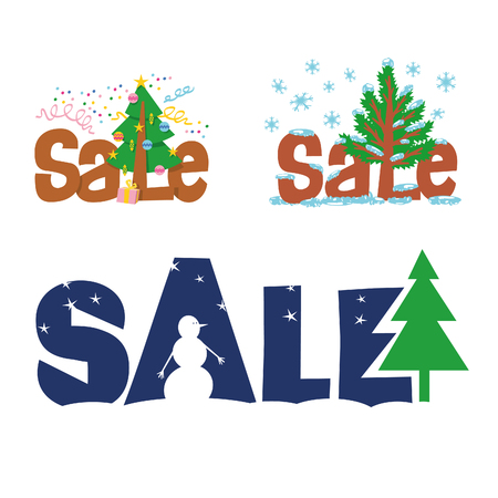 xmax: A set of vector signs christmas sale. A set of labels for a poster, display cases, leaflet. Sale special offer - a percentage of sales. X-max tree Illustration