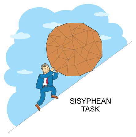 sisyphus: Vector illustration of style flat linear design on hard work, overcoming difficulties, Sisyphus Illustration