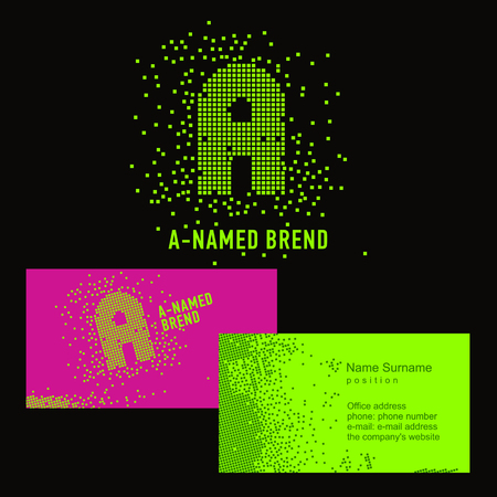 alpha cell: Template A brand name -Company. Corporate identity for the company on the letter A: logo, business card. Creative logo of pixels consists of particles letter A