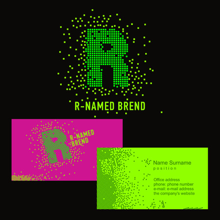 Template R brand name -Company. Corporate identity for the company on the letter R: logo, business card. Creative logo of pixels consists of particles letter R Ilustração